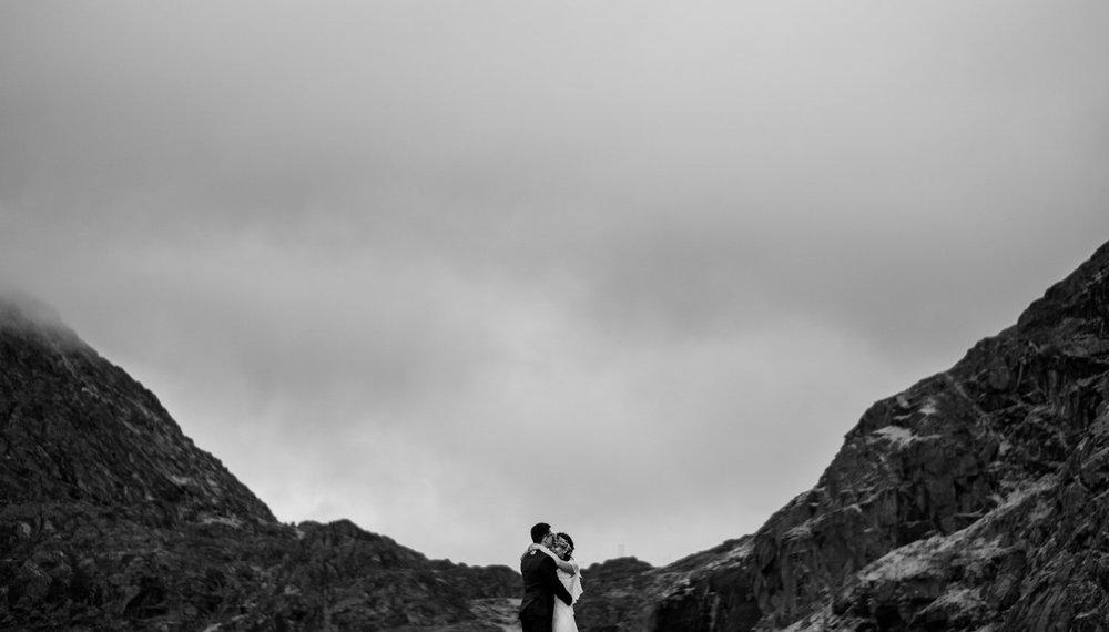 mountains and wedding in Lofoten, Norway