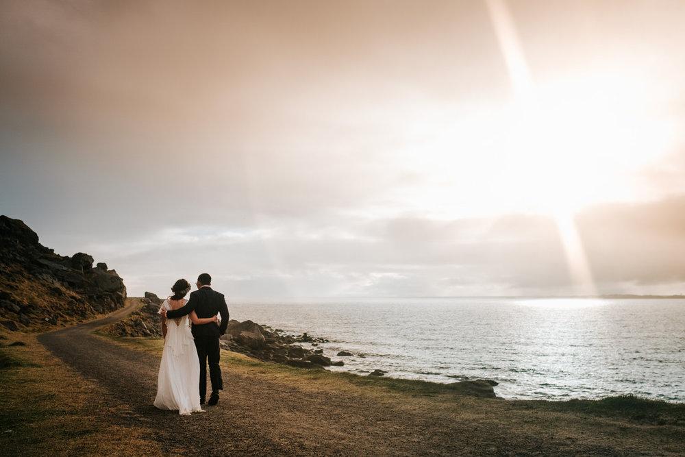 Sunset wedding portrait Lofoten