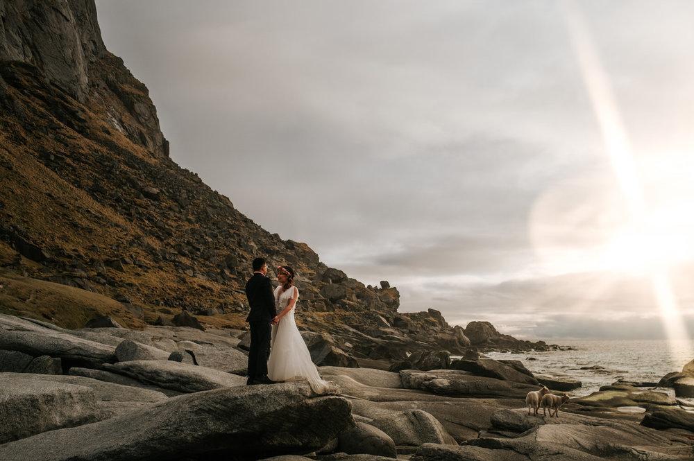 Sunset bridal portrait, bride and groom Lofoten