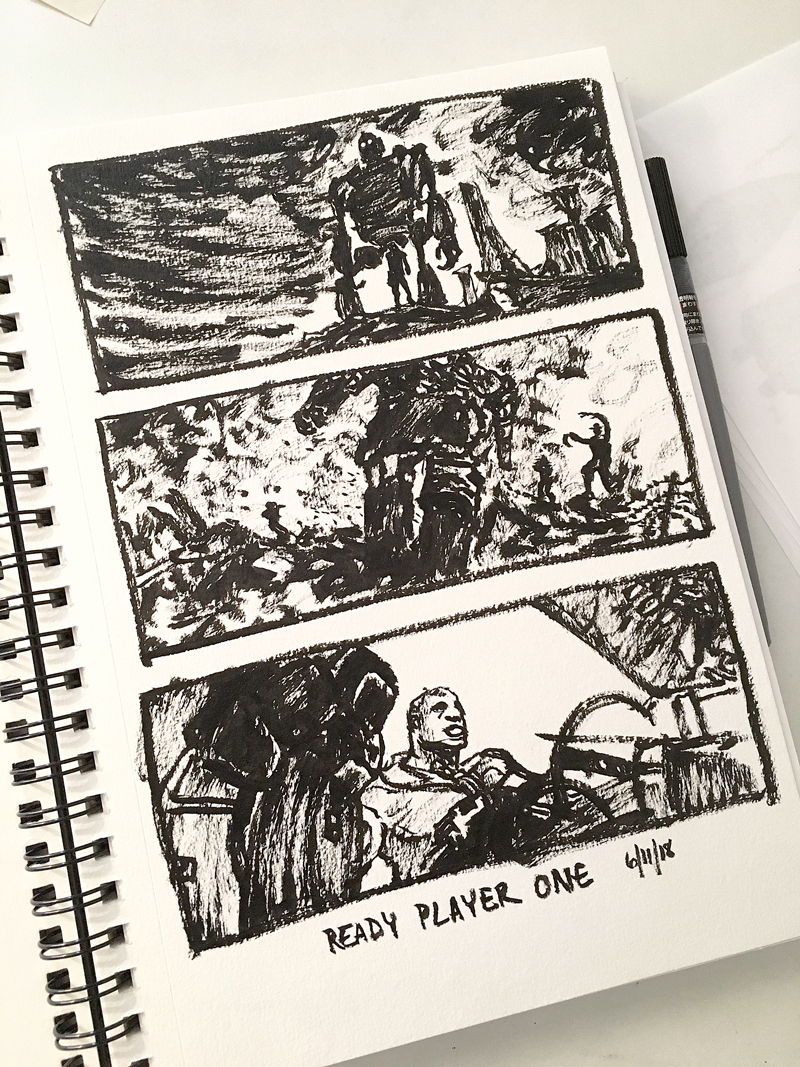 Movie trailer stills from the last Ready Player One trailer. Pentel brush pen on Canson mixed media paper.