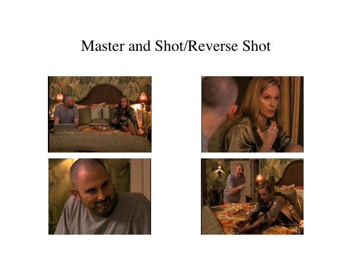 "If I were shooting this scene, I'd do the following.  Light and ""set-up"" the master shot on the top left. That way I would have a wider shot to match the lighting and the blocking.  I'd shoot the bottom right next because it's another wide shot and it's likely that you could use close to the same set-up probably readjusting the light rearrangement to the left of the bed.  I would shoot his reverse shot next (bottom left) because the lighting would likely stay the same.  Lastly, I would shoot the top right over-the-shoulder shot, because the cinematographer would have to adjust the lighting from the bottom two.   I would shoot the scene all the way through each angle for multiple takes so that I would have plenty of coverage for editing.  I would be making these decisions to shoot efficiently in production, but the process of getting coverage is all about continuity editing."