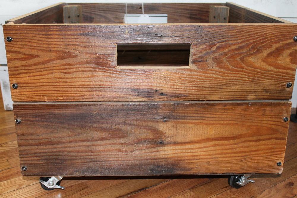 Rustic Barn Wood Rolling Storage Box (Pillows Sold Separet)