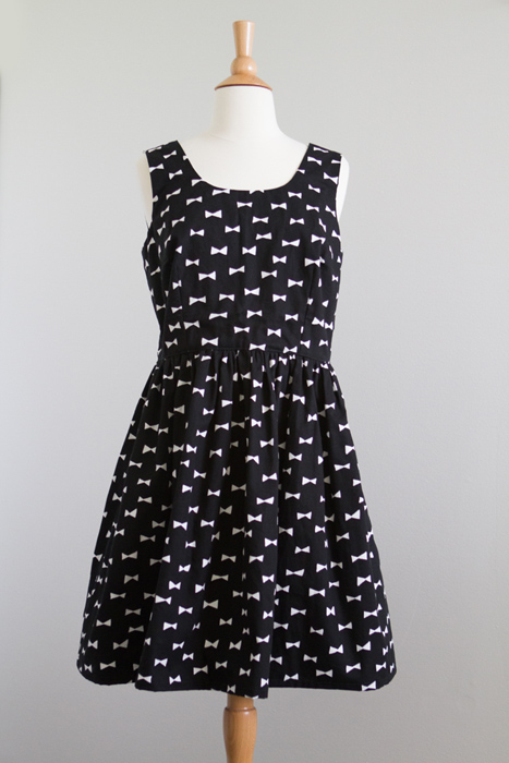Fabric is from Japan. Love the black x white bow print. Very Kate Spade.