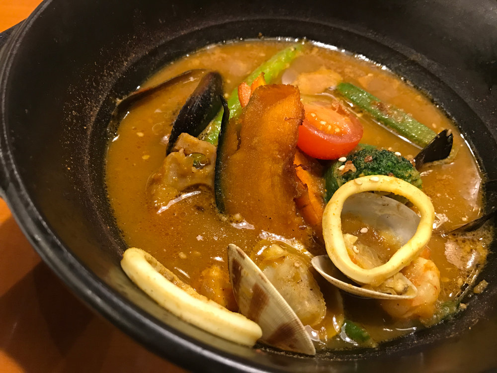 Soup curry, a speciality in Hokkaido