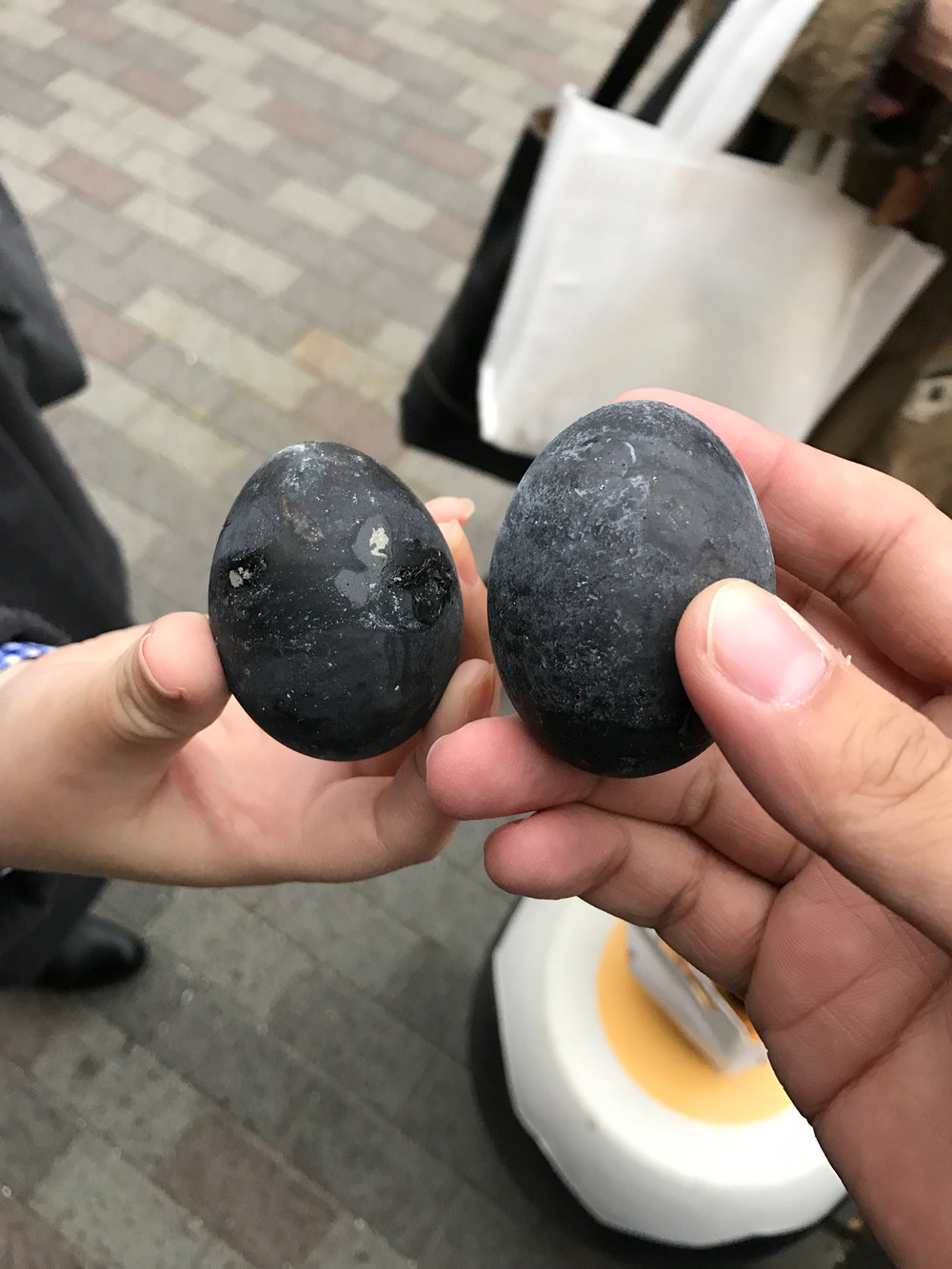 Owakudani black eggs. They're regular chicken eggs, only the shell turned black due to being boiled in hot sulphur spring. They say if you eat one, 7 years will be added to your life!