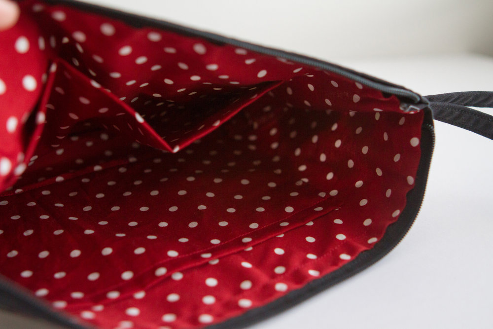 Red polka dot lining