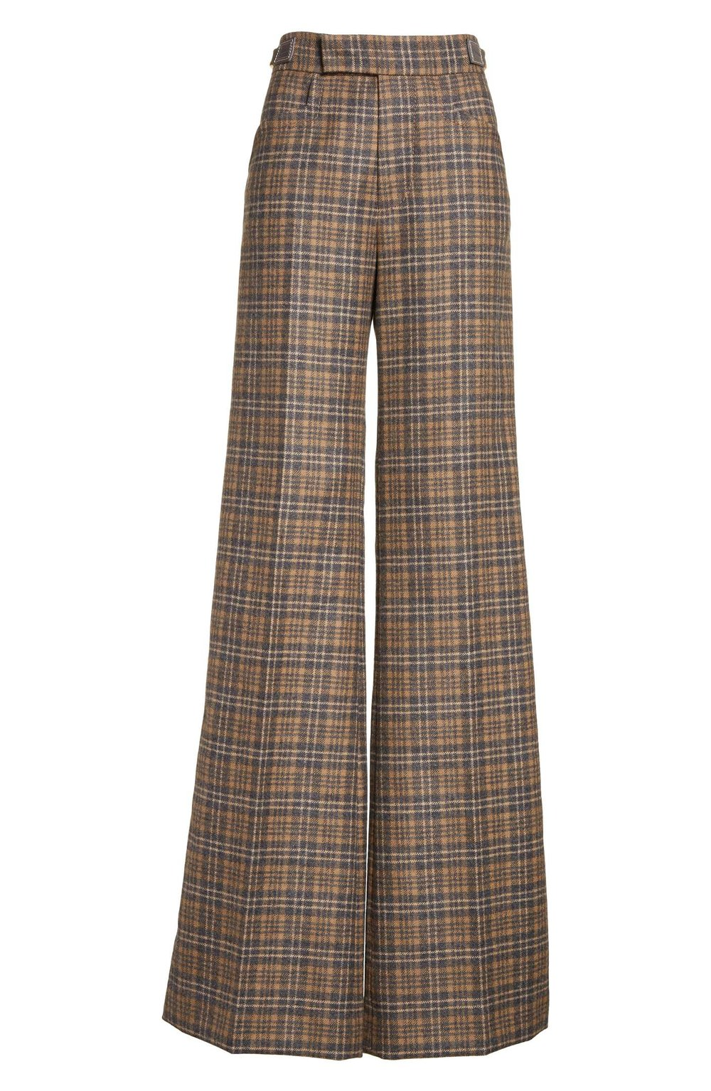 Plaid Wool Blend Wide Leg Pants