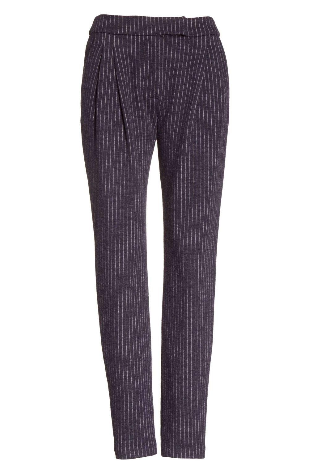 Pinstripe Pleat Front Jersey Pants