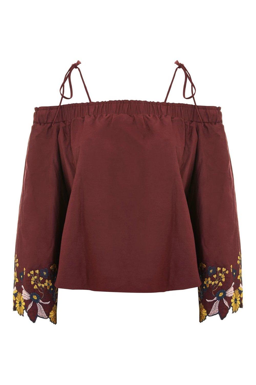 Embroidered Long Sleeve Bardot Top
