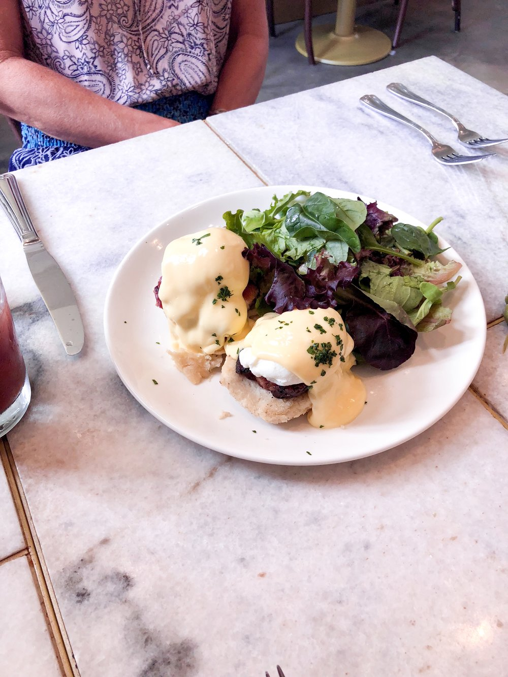 - Eggs Benedict to die for.