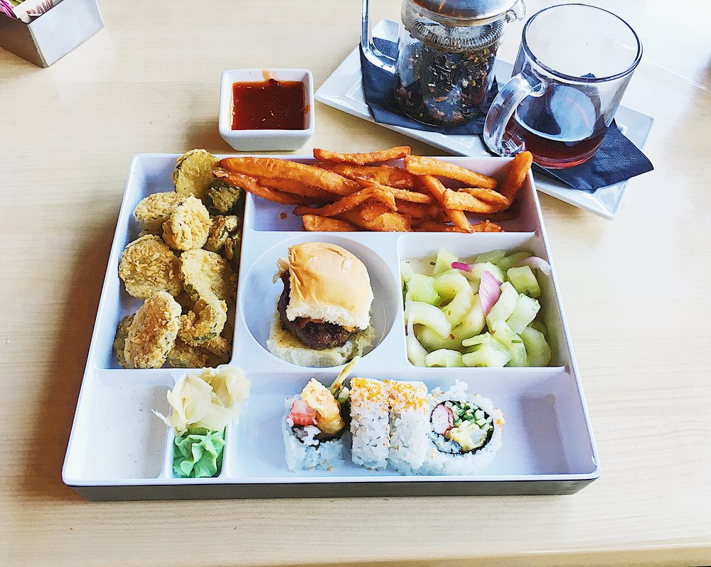Fusion Bento Box Included:  Fried Pickles; Burger Slider; Shrimp Tempura Roll; Spicy Cucumbers;: Sweet Potato Fries