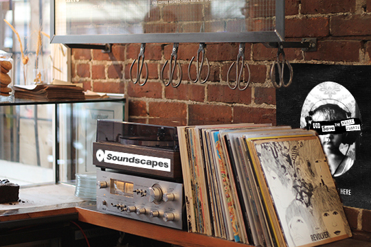 Coffee shop patrons can pay to choose from vinyls to play on a record player donated by Soundscapes.