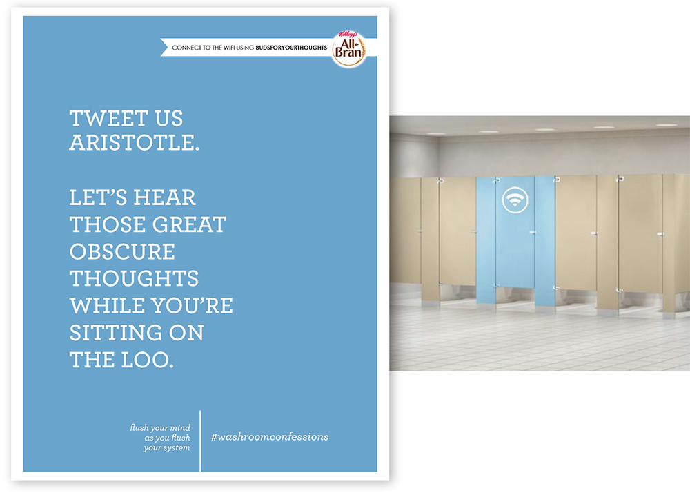 Receive free wifi from All-Bran Washroom Confession Stalls with password and tweet.