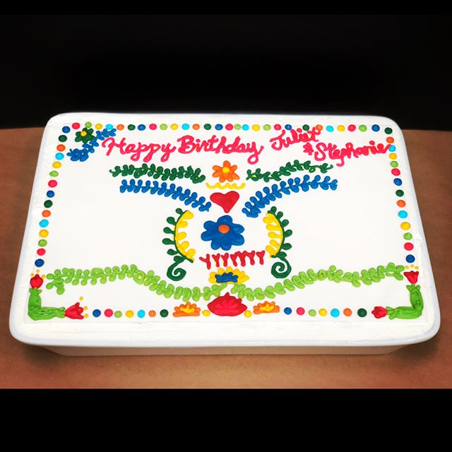 A festive tres leches cake and fiesta sugar cookies to celebrate Juliet and Stephanie's birthday bash!! A soft sponge cake is soaked with three milks and topped with sweet whipped cream. The cake is decorated with colorful royal icing embroidery. Rolled sugar cookie sombreros, piñatas, fiesta plaques, and gorgeous flowers round out the sweets! Wishing you both a super happy birthday! ^_^ . . . #tresleches #treslechescake #whippedcream #royalicing #sugarcookies #rolledsugarcookies #decoratedsugarcookies #cookieart #sweets #desserts #birthdaycake #birthday #cookiedecorating #sugar #cookies #fiesta #floral #sombrero #pinata #festive #cookiesbylynn #food52 #embroidery