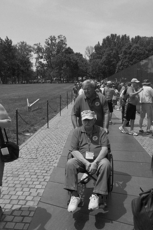 veteran at Vietnam Memorial, June 2016