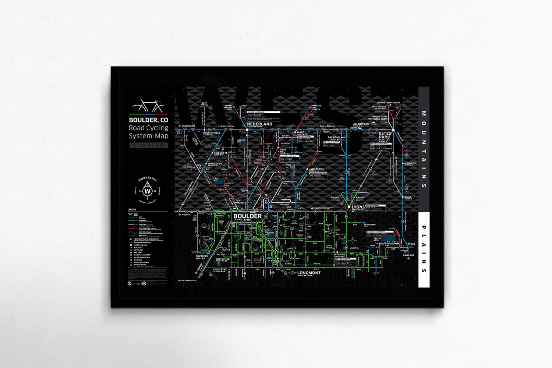 Subway Map Bike.Boulder System Map Black 1st Edition