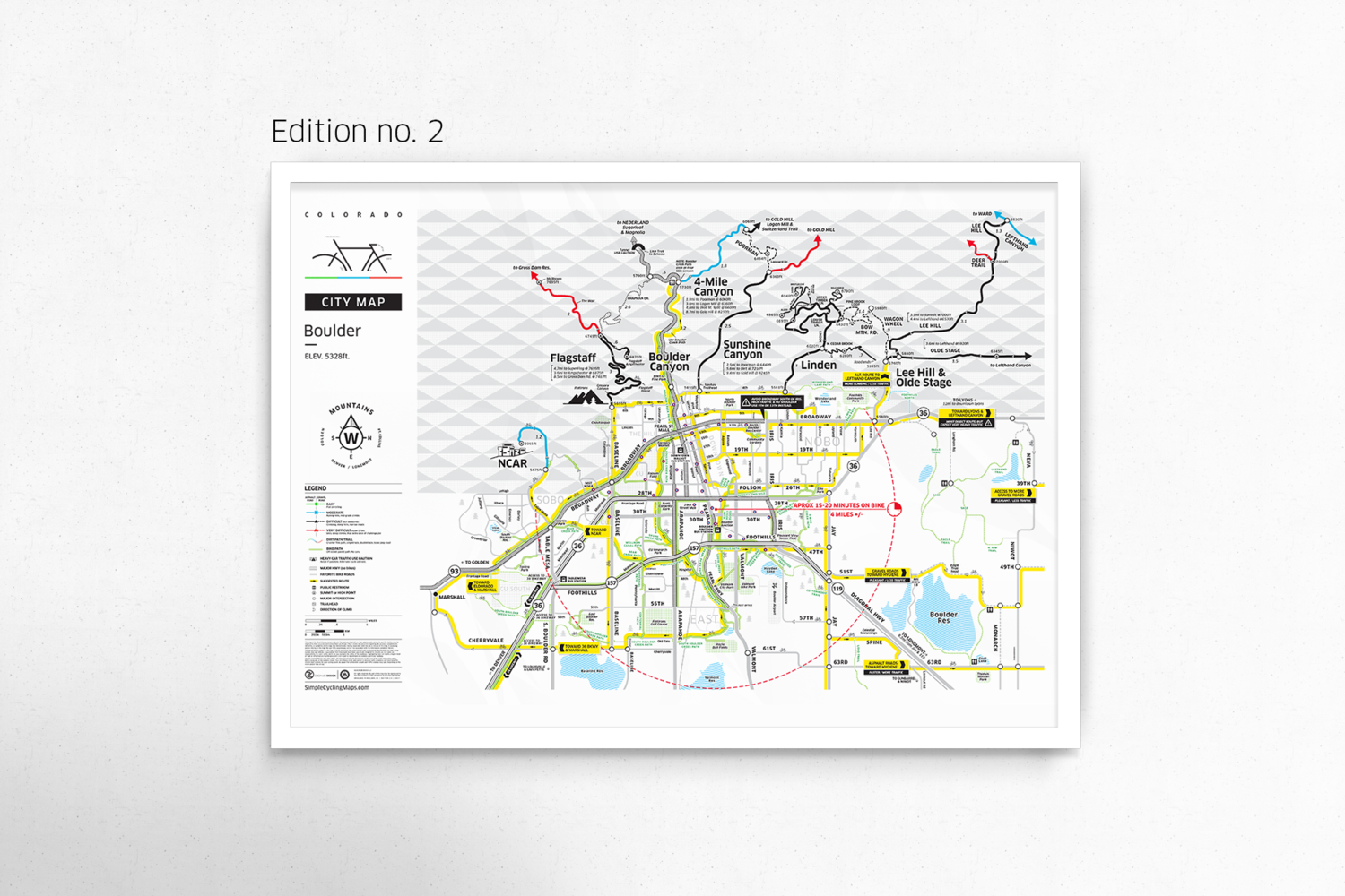 Boulder City Map Poster // Edition 2 — Boulder Bike Map on