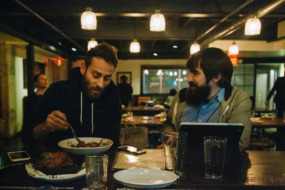 Mike Kinsella chows down his complimentary meal before playing at The Sinclair in Cambridge, Mass. while John interviews him through fanboy anxiety. Photo by Sasha Padro