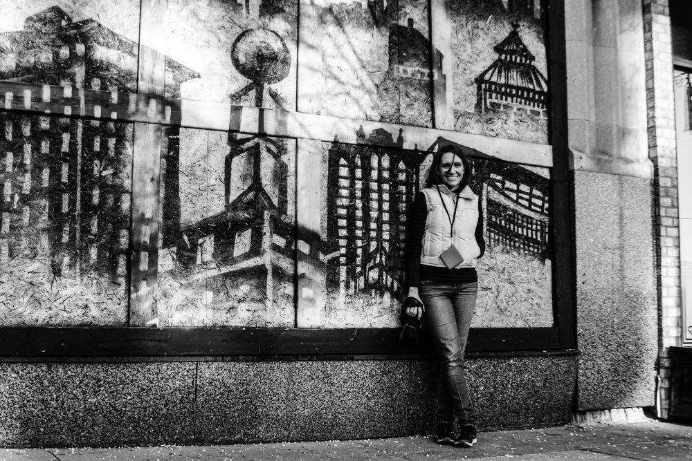Photo walk in downtown Flint, Michigan.  Black and white mural.  www.lisavillellaphotography.com Photo curtesy of Greg Kowalski