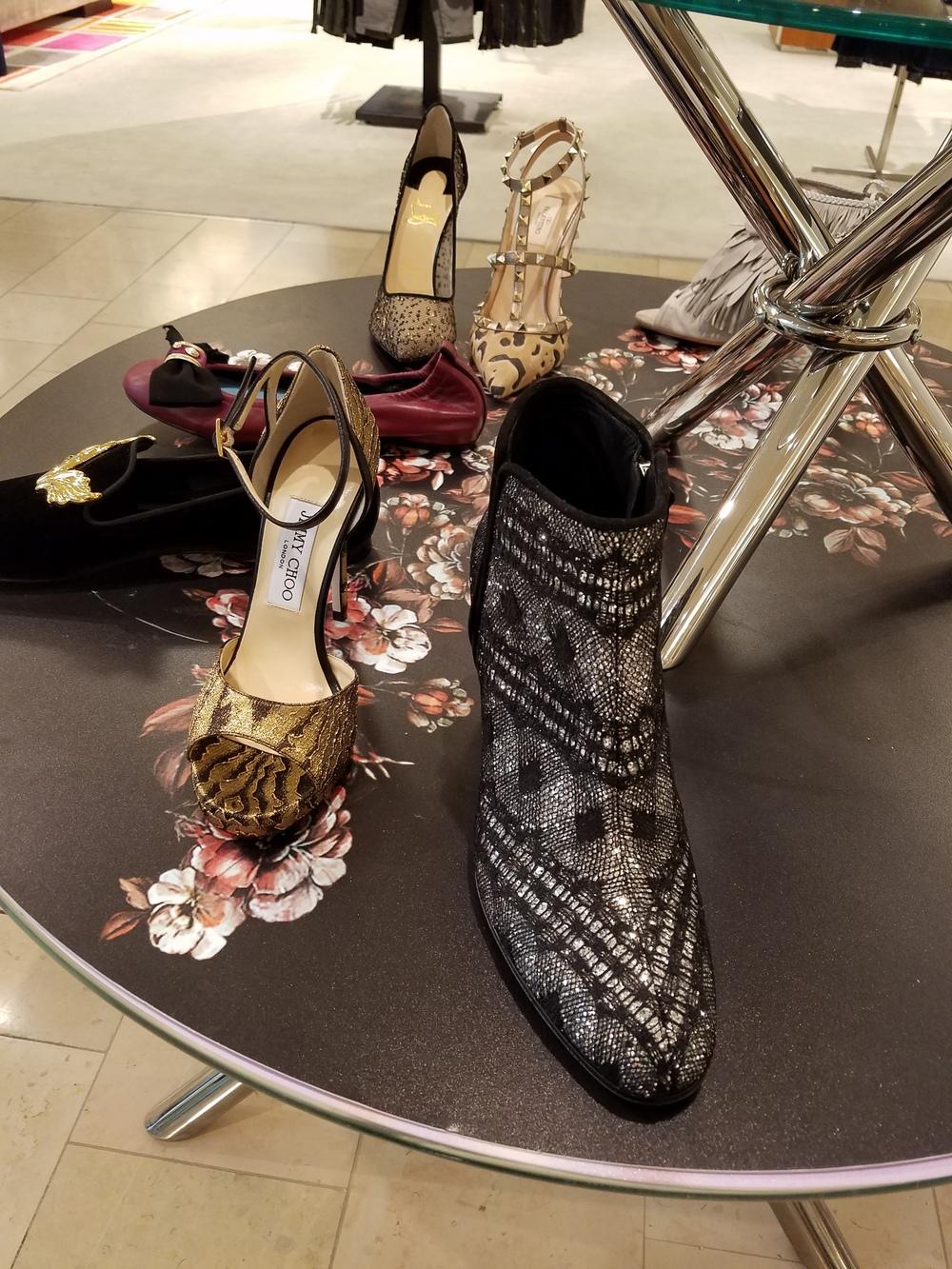 Jimmy Choo gold sandal. Giuseppe Zanotti bootie