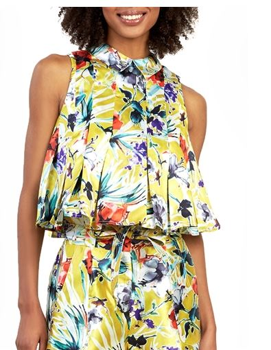 Flower printing sleeveless wide top