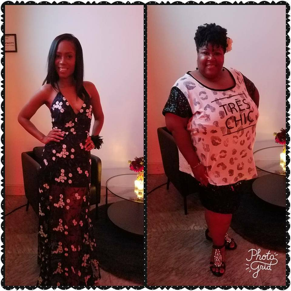 The Styling Closet Team; Latrice wearing navy lace. Lisa wearing sequins and leopard print.