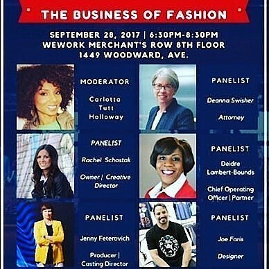"""Limited seats remain,  get yours now. """"The Business of Fashion"""" on Thursday, September 28th at WeWork in Detroit, Merchant's Row 8th floor, 1449 Woodward Ave. 💋 Tickets now on sale:  https://www.eventbrite.com/e/the-business-of-fashion-tickets-37063795811 💋 The panel will feature Detroit based executives:  1. Joe Faris, Owner/ Designer at Joe Faris Designs.  2. Rachel Schostak,  Owner-StyleShack.  3. Deidre Lambert-Bounds, Chief Operating Officer and Partner at Ignite Social Media.  4. Deanna Swisher, Attorney at Foster Swift Collins & Smith PC. . 5. Jenny Feterovich-Parliament Studios Inc. . The panel will be moderated by Carlotta Tutt- Holloway, Founder of The She Is-Project & True Root Marketing and Latrice Delgado-Macon, Regional Director of FGI Detroit. . #fgidetroit #fashion #fgi #designer #detroitstyle #networking #fashionista #style #detroit #fashioncommunity #fashiondesigner #fashionindustry #interiordesign #style #business #fashionevent #community #wework #networking"""