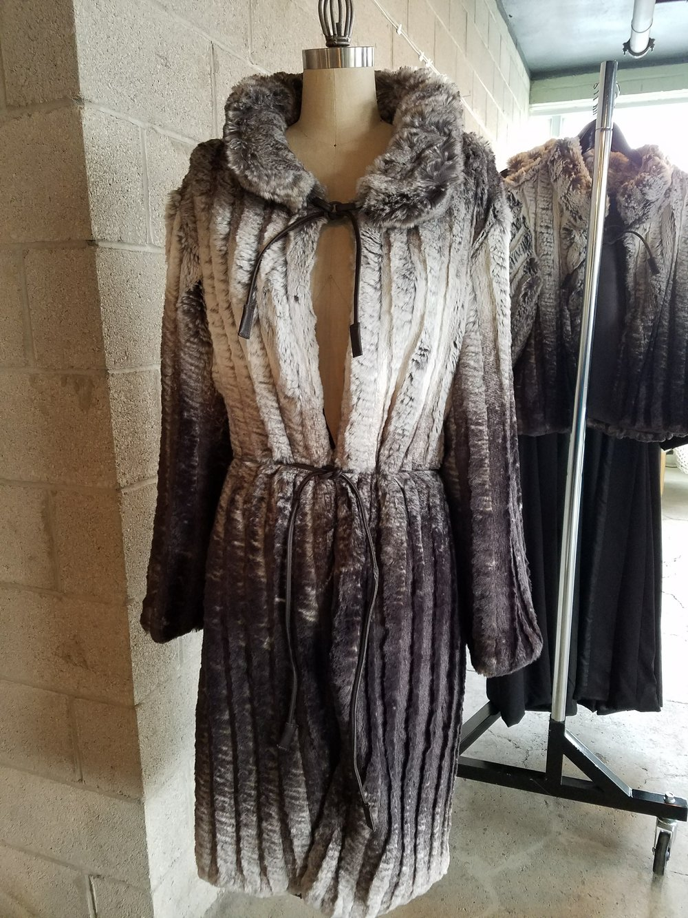 Full faux fur coat by Designer Leslie Pilling
