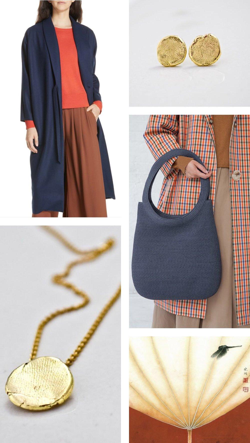 Eileen Fisher, Long Wool jacket, Blue  |    Bottone Earrings, 14K    |  *Samuji Amabel coat, Babs sweater and tall Flower basket  |    Bottone Pendant, 14K    |  Chinese painting.