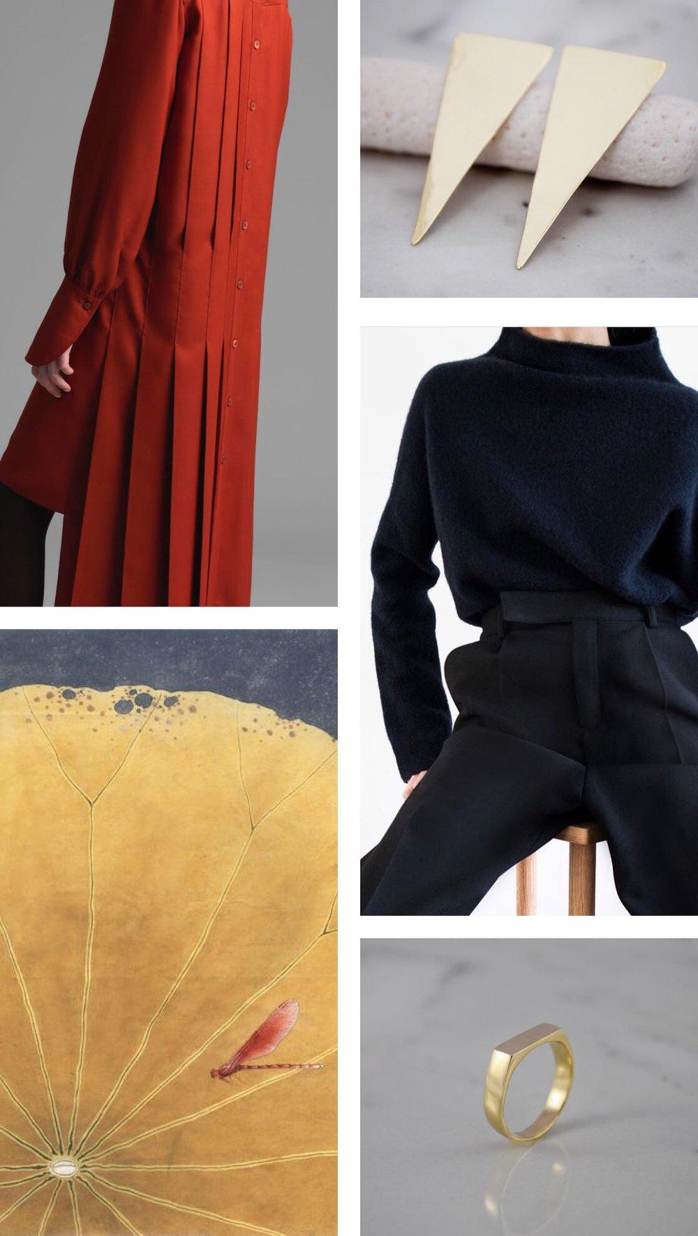 Chloé, Asymmetrical shirt silk shirt dress  |   Tria Earrings, 14K  |Filippa K, Yak funnelneck navy and trousers  |  Chinese painting  |   Flat Ring, 14K.