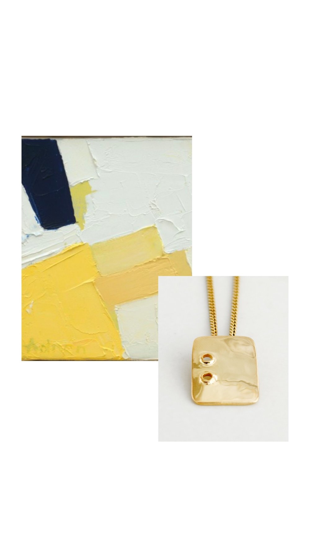 Detail of  Etel Adnan  artwork; VUOTO PENDANT 14k Gold.