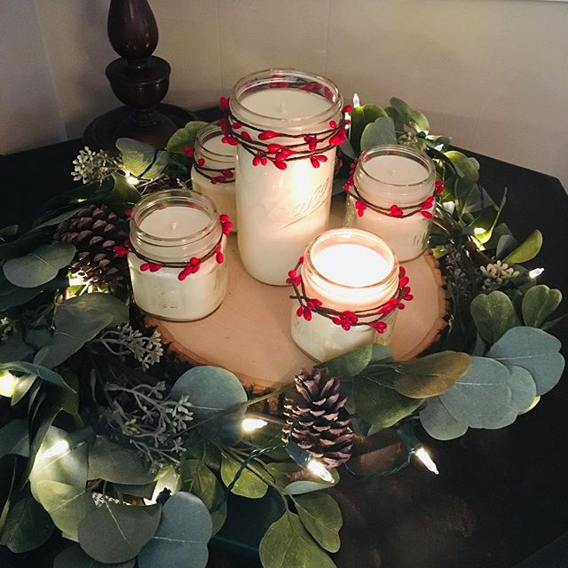 Advent wreath with my candles!🔥 #adventwreath #masonjarcandles #makersgonnamake #100percentsoy