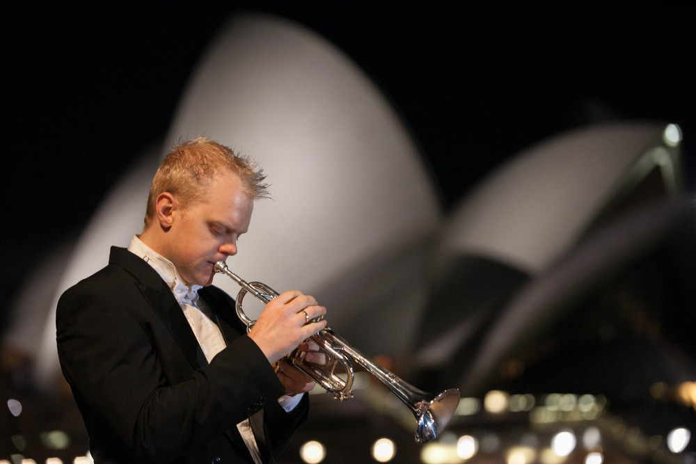 Phill O'Neill Trumpeter in front of the Sydney Opera House
