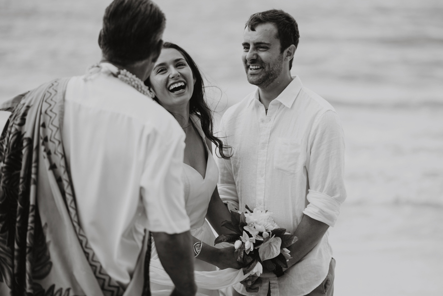 Couple Laughing on Wedding Day in Hawaii