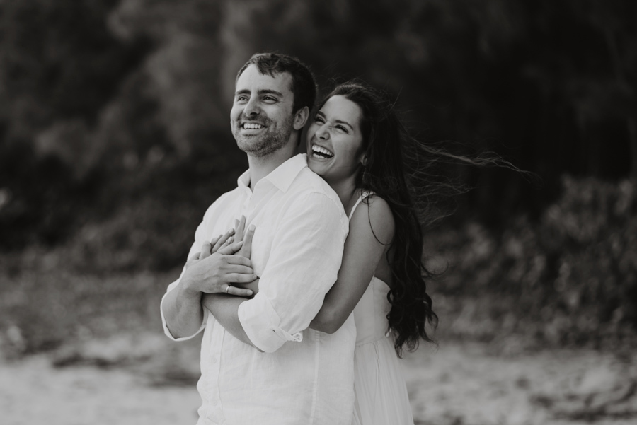 Black and White Wedding Photography Couple Laughing