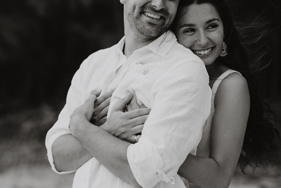 Black and White Wedding Photography Couple Hugging