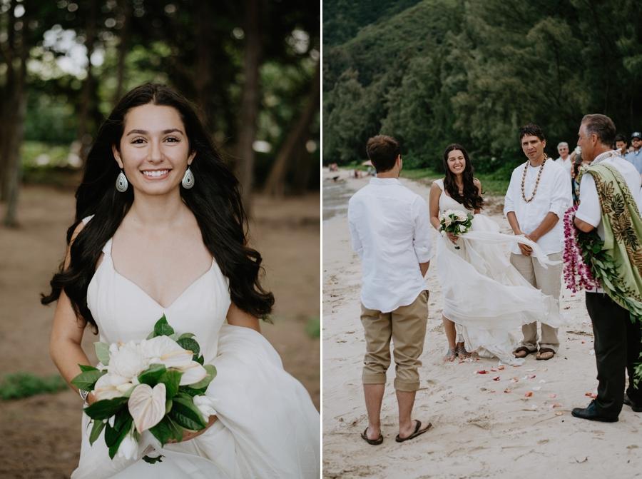 Wedding Portrait on Beach in Hawaii