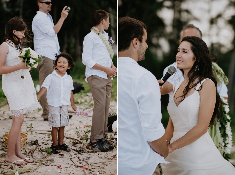 Couple Standing on the Beach Getting Married in Hawaii