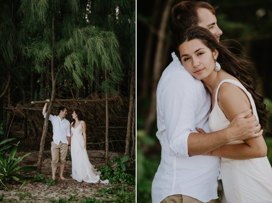Wedding Photography Couple Standing in Trees