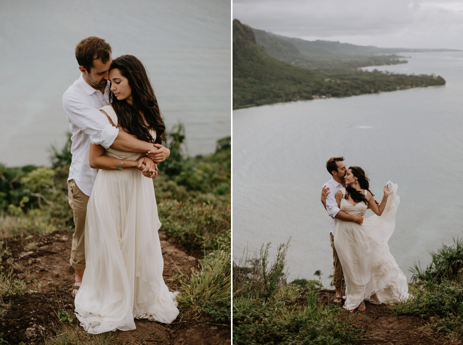 Bride and Groom Standing on Cliff in Hawaii