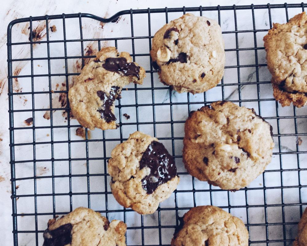 Healthy Dark Chocolate Hazelnut and Sea Salt Cookies