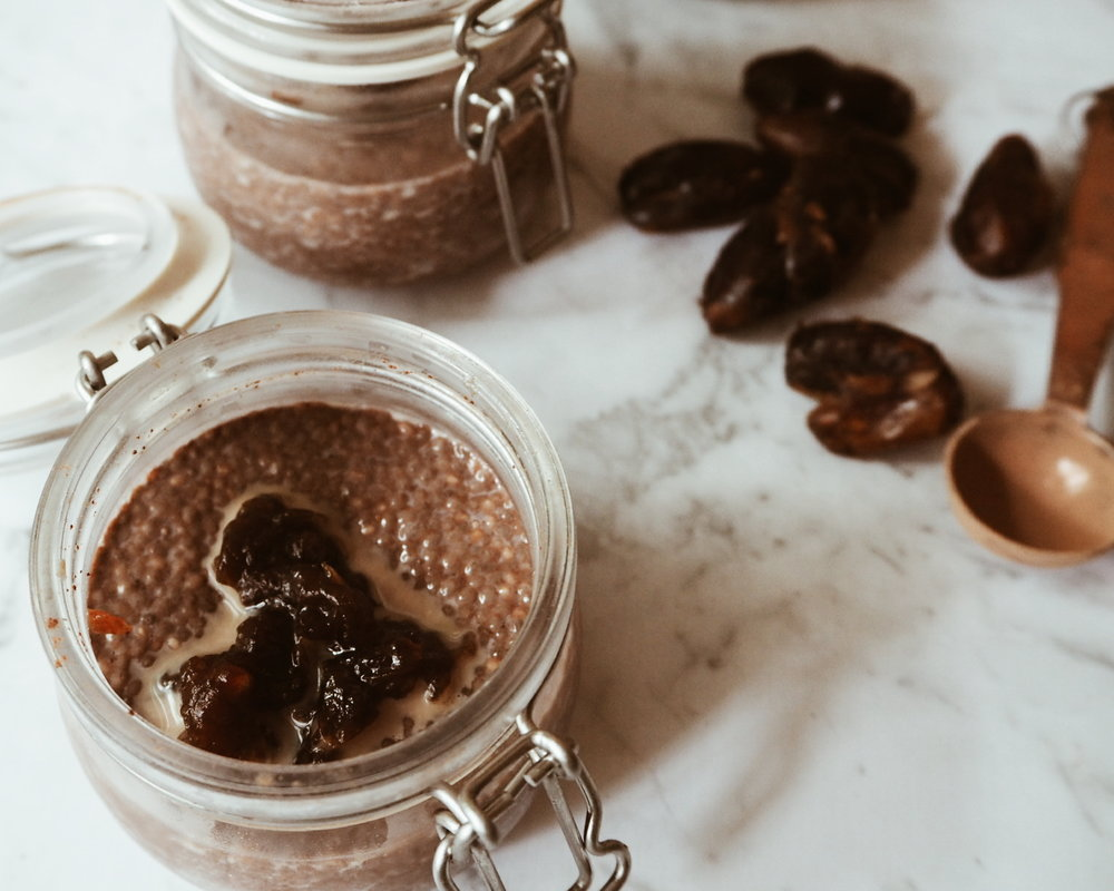 Chocolate and salted caramel chia pudding