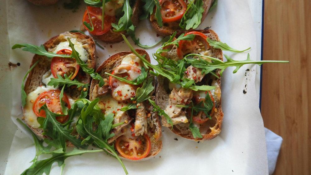 Mackerel, tomato & pesto - grilled cheese