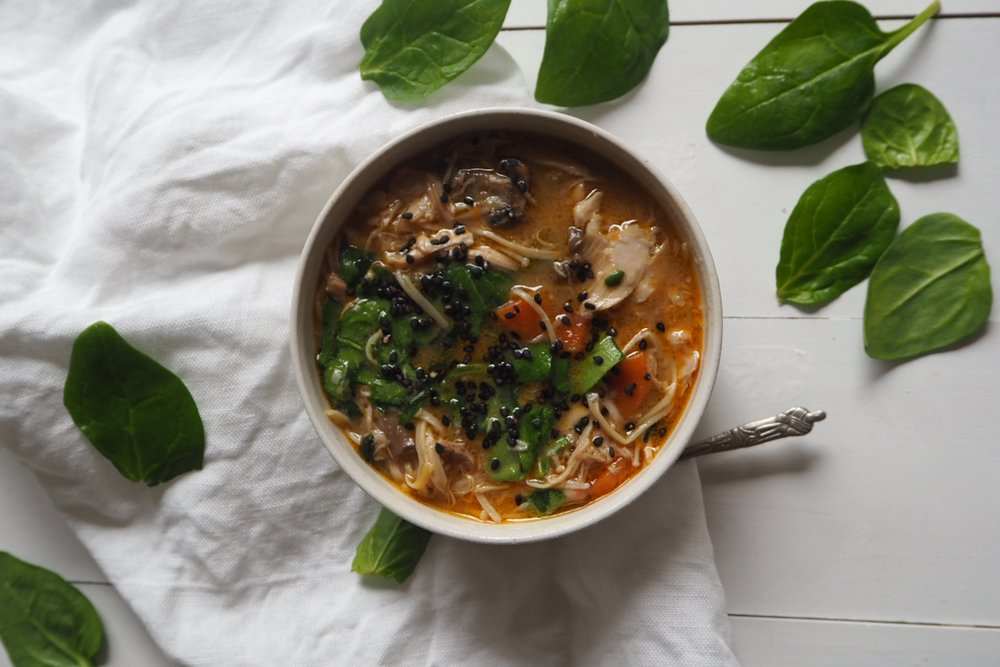 chicken mushroom miso soup