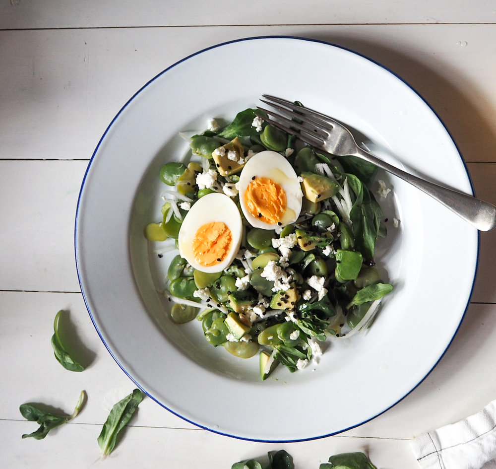 broadbean, egg and avocado salad