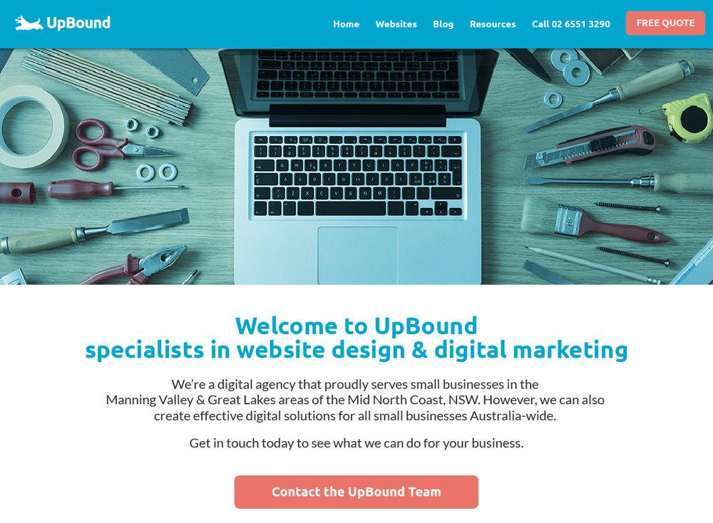 Example of uninspiring home page design for a website | UpBound Website Design & Digital Marketing