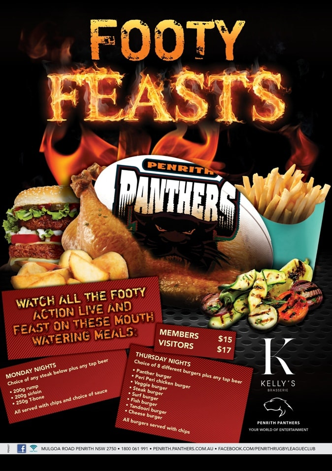 Footy Feasts Poster Plain (No Logo)-min.jpgClose up of Footy feasts promtional point of sale POS Kit artwork graphic design for Penrith Panthers