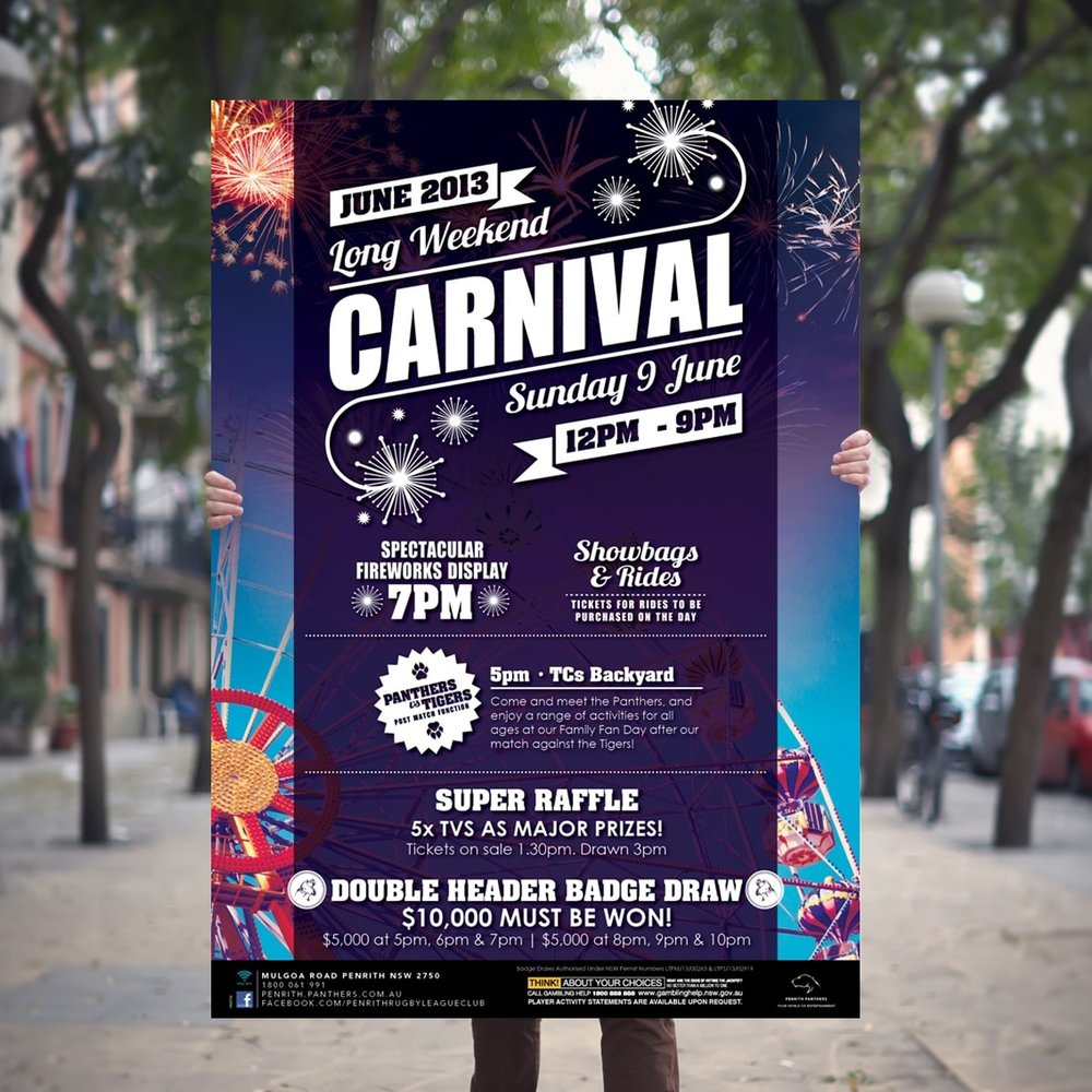 June Long Weekend Carnival promtional point of sale POS Kit artwork graphic design for Penrith Panthers.