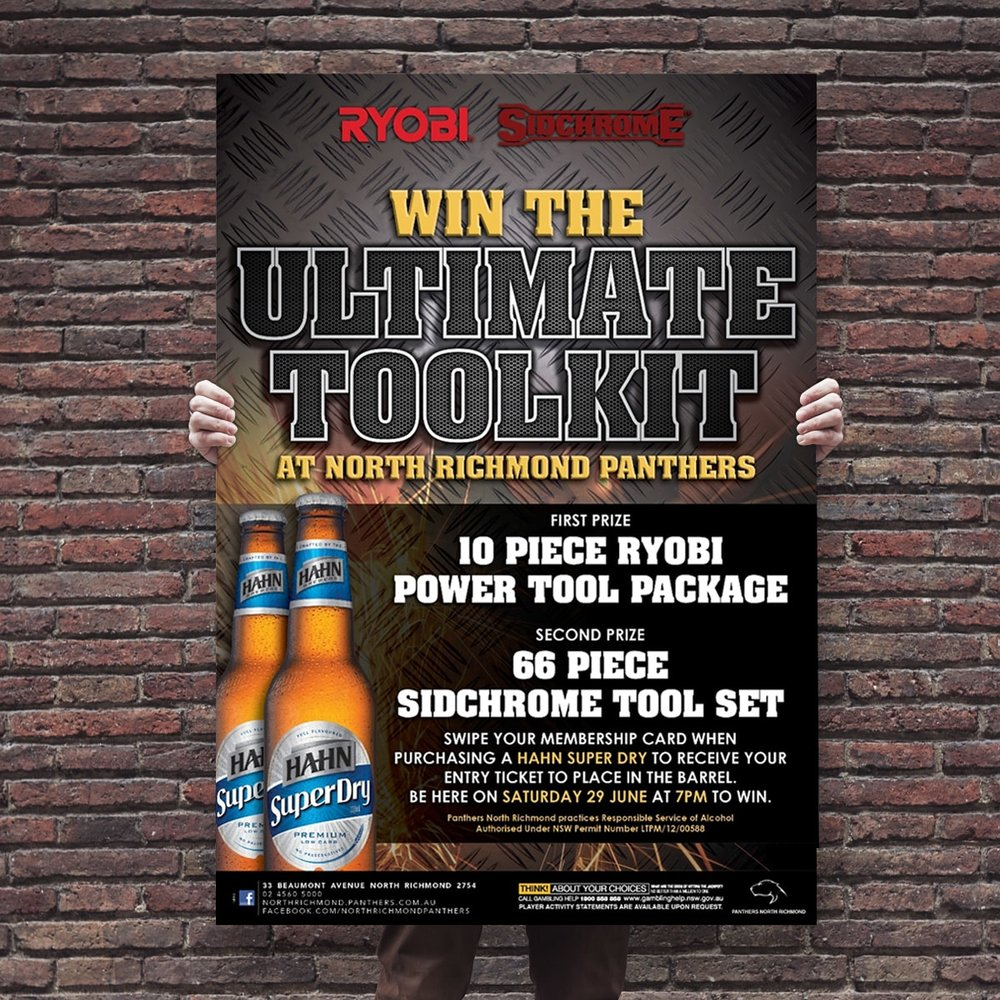 Win the Ultimate Toolkit promtional point of sale POS Kit artwork graphic design for North Richmond Panthers.