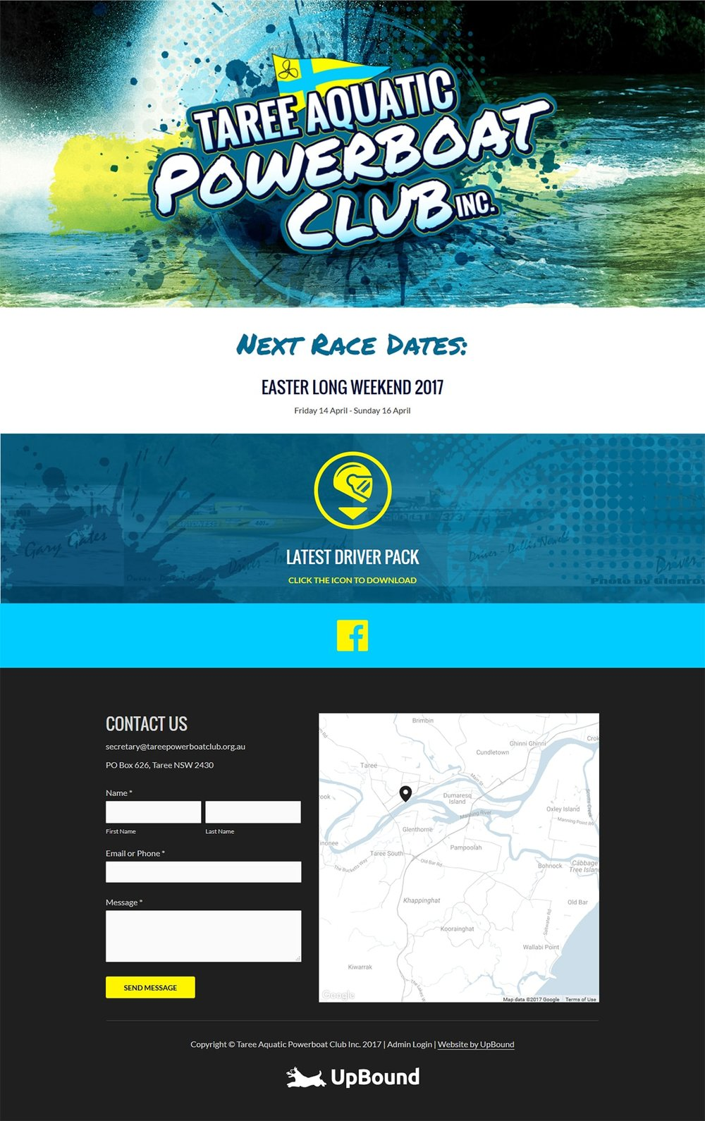 The Taree Aquatic Powerboat Club Homepage - a sample of the website design.
